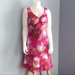 Floral Sleeveless Dress in Pink and Red by Tribal